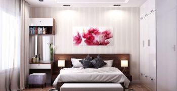 Mát mắt với không gian phòng ngủ kết hợp nội thất màu trắng dịu êm