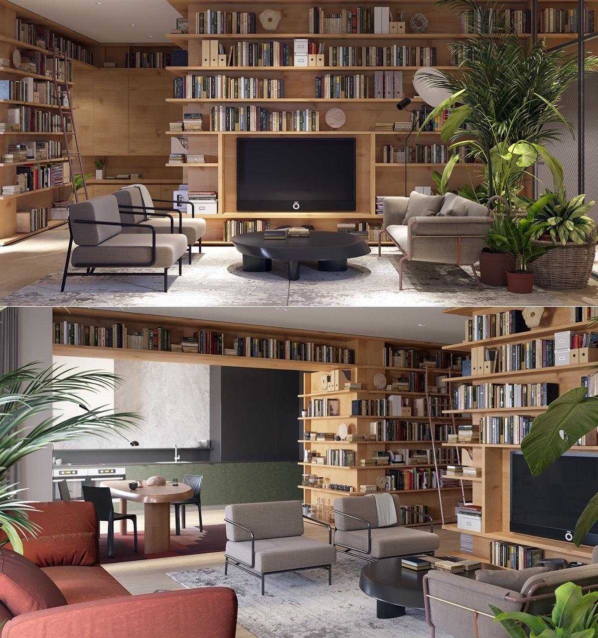 Làm mới không gian sống bằng sách