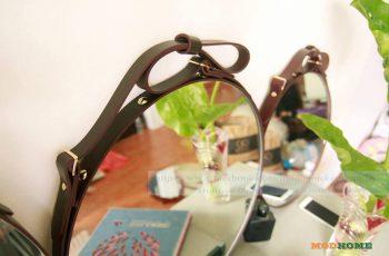 Gương trang điểm dây treo da bò - Nâu, Đen [Hà Nội]