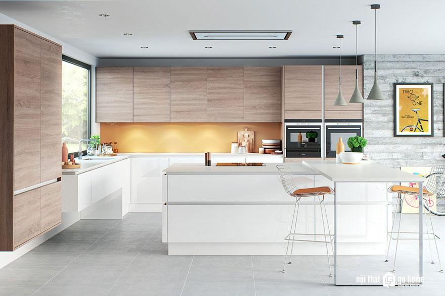 Vẻ đẹp hoàn mỹ của tủ bếp công nghiệp HDF dán acrylic