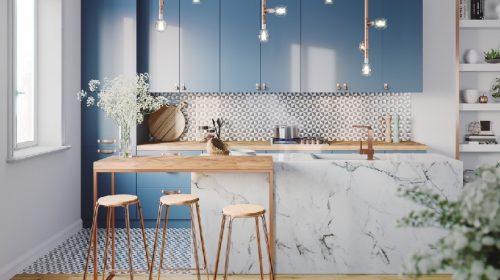 Ý tưởng thiết kế phòng bếp tông màu xanh xua tan nắng nóng mùa hè