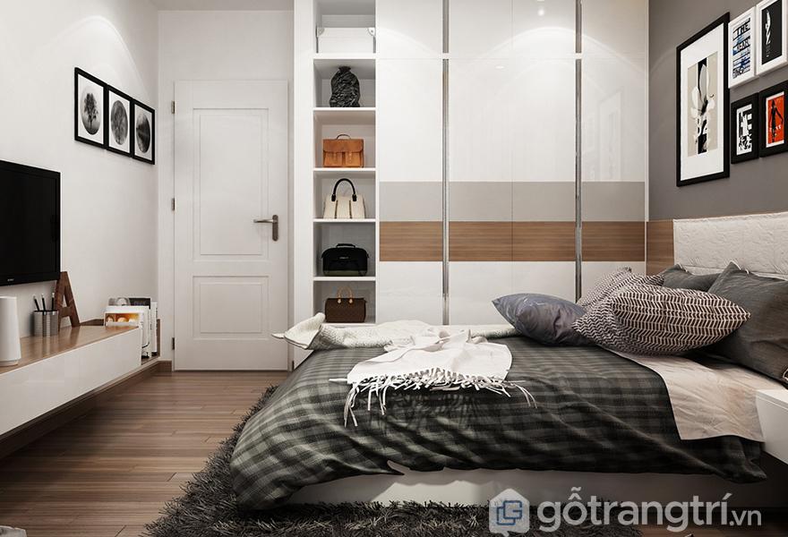 Phòng ngủ sử dụng màu xám - trắng