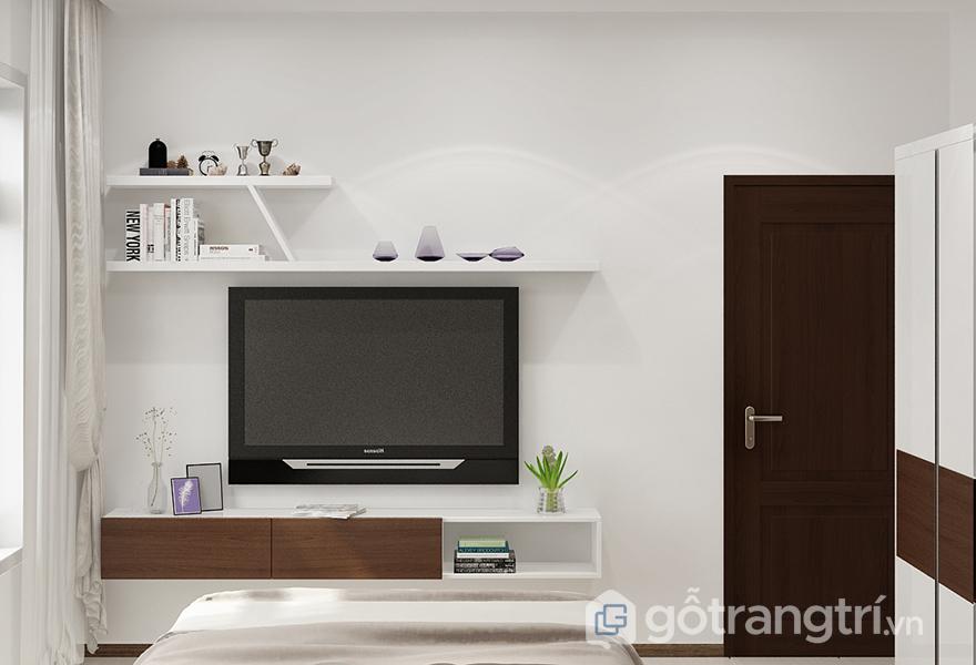 Kệ tivi nhỏ gọn, đơn giản là cách tốt nhất để tiết kiệm diện tích phòng ngủ