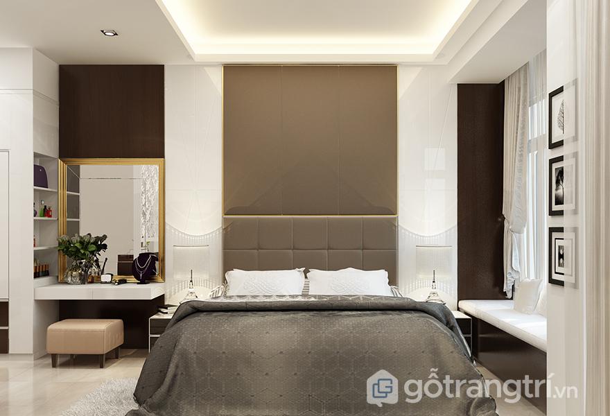 Tất nhiên trong phòng ngủ không thể thiếu bàn trang điểm vì đó là món đồ nội thất bất cứ chị em nào cũng cần có rồi!