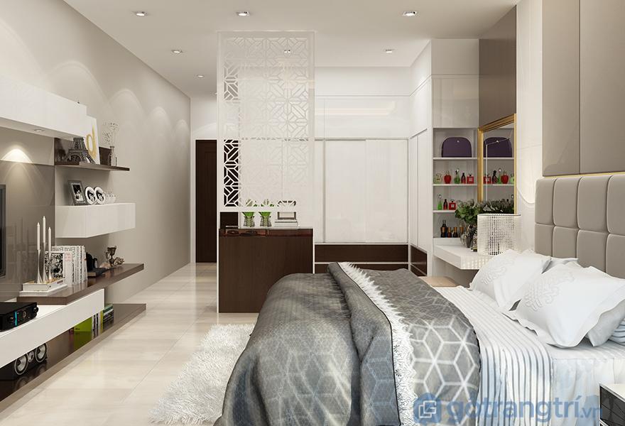 Tấm thảm trải sàn phòng ngủ lông xù màu trắng lịch sự và sạch sẽ