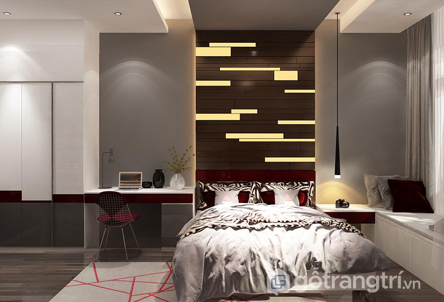 Phòng ngủ vừa tạo cảm giác ấm cúng, mà vẫn toát lên được vẻ đẹp sang trọng