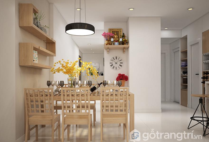 Bộ bàn ăn với những phụ kiện trang trí độc đáo tạo điểm nhấn cho phòng ăn