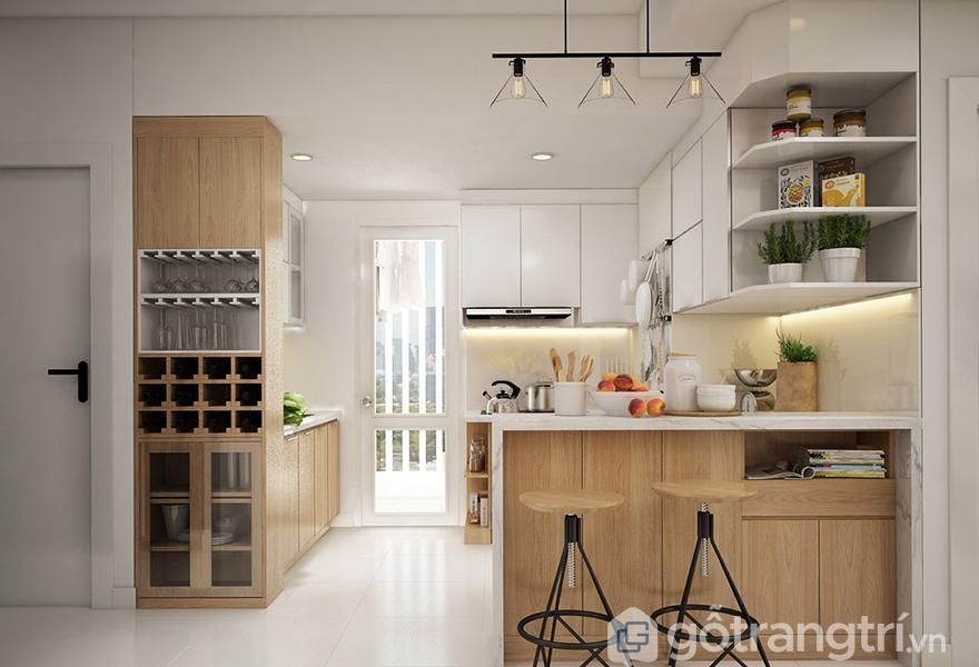 Căn bếp có khu vực ăn sáng tiện nghi và lãng mạn