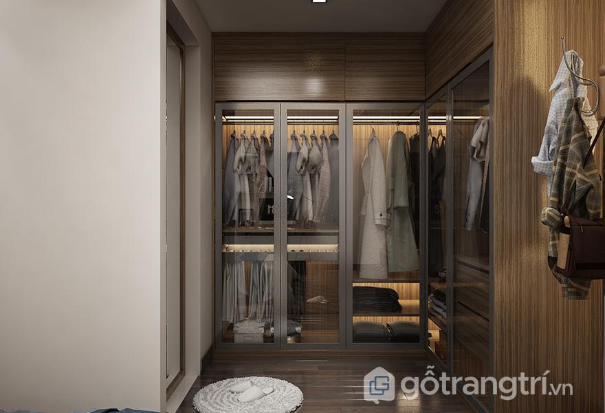 Tủ quần áo gỗ công nghiệp có bề mặt trang trí vân gỗ