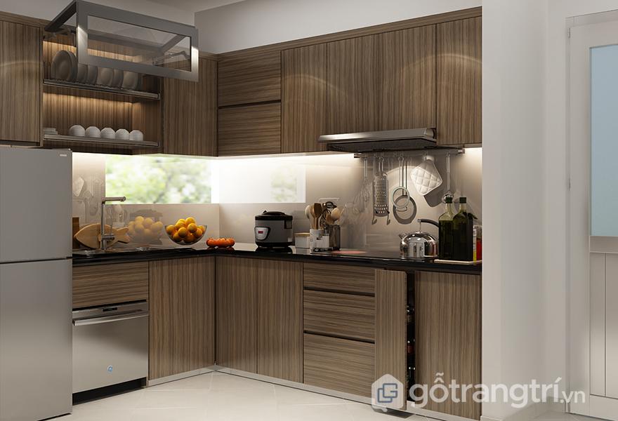 Lựa chọn tủ bếp vân gỗ cho không gian nấu nướng