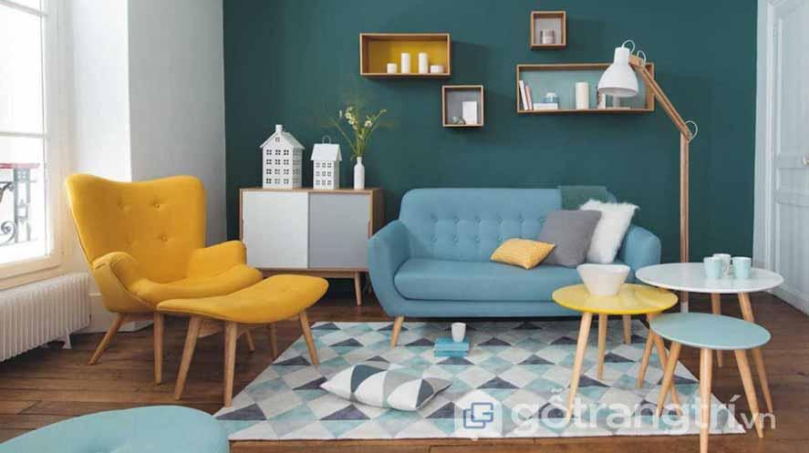 Phong cách retro nội thất phòng khách nổi bật với 3 gam màu: vàng - xanh - trắng (Ảnh: Internet)
