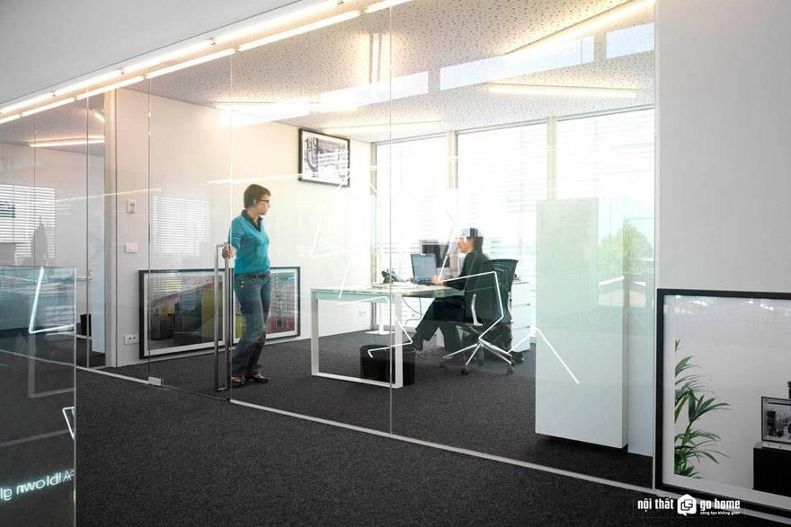 Sử dụng vách kính trong thiết kế văn phòng hiện đại