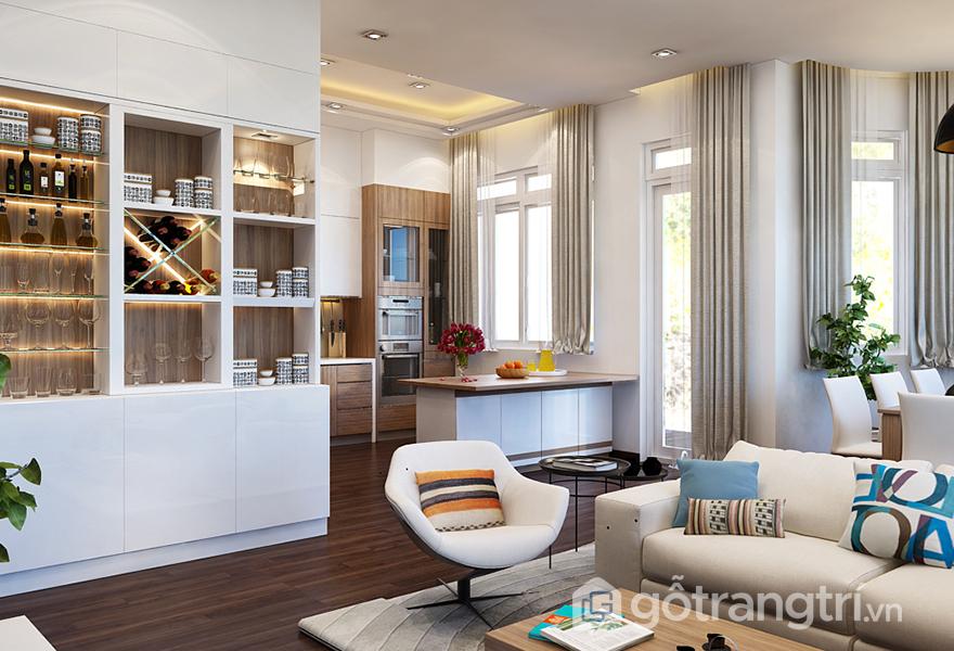 Gối tựa sofa có màu sắc đa dạng, bắt mắt, làm điểm nhấn cho cả căn hộ