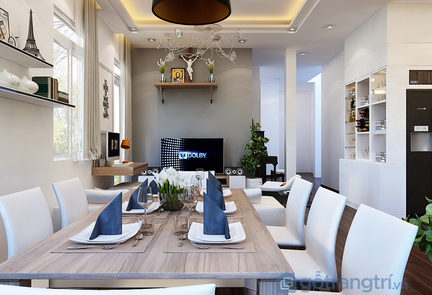 Bộ bàn ăn mang đậm phong cách châu Âu rất ấn tượng