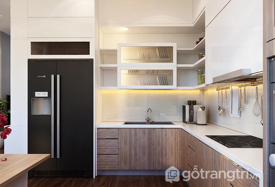 Gian bếp sử dụng tông màu sáng làm chủ đạo để người sử dụng thêm yêu không gian của mình