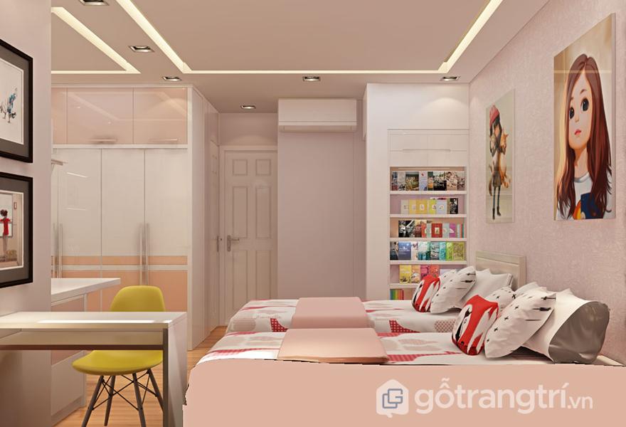 Thiết kế phòng ngủ bé gái với tông màu hồng nhẹ