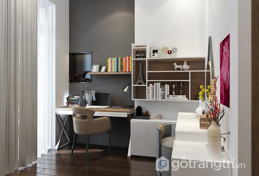 Phòng ngủ thêm phần tiện nghi với bàn làm việc và bàn trang điểm