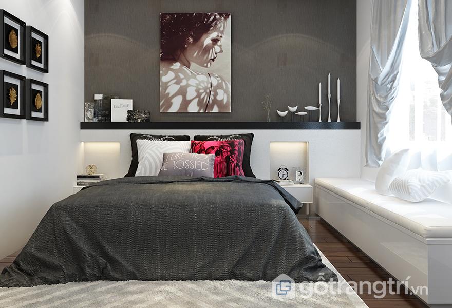 Phòng ngủ bố mẹ được thiết kế đơn giản nhưng tinh tế