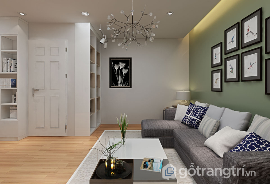 Bộ sofa và bàn trà được bày trí trong phòng đọc là không gian nghỉ ngơi, thư giãn cho mọi người