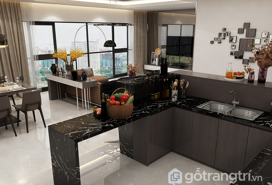 Thiết kế bếp nấu trong căn hộ