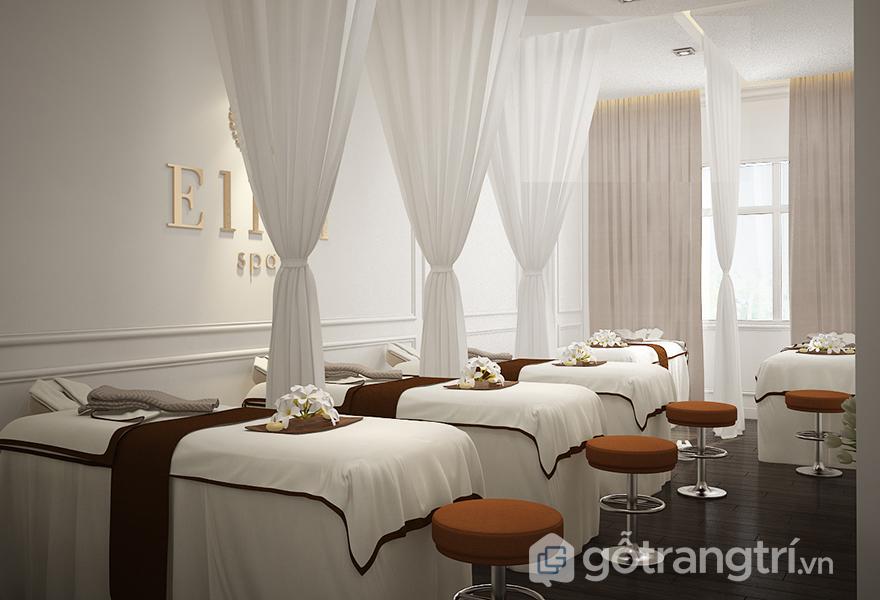Thiết kế spa mang màu trắng tinh khiết, nhẹ nhàng, phù hợp với khách hàng tại spa