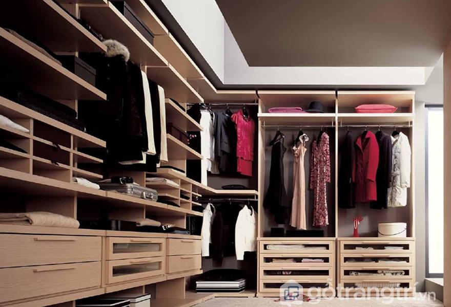 Tủ quần áo không cánh mang thiết kế hiện đại