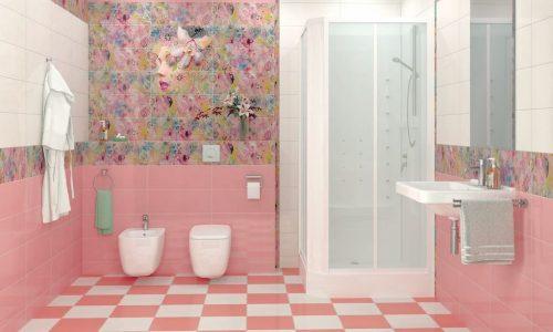 Trang trí phòng tắm hiện đại với tone hồng pastel ngọt ngào