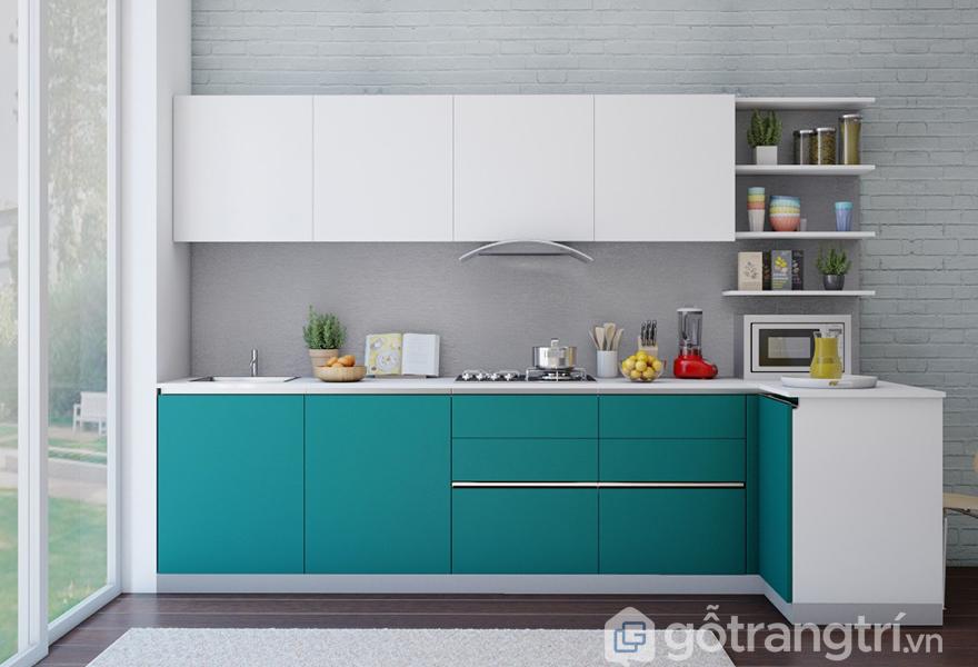 Tủ bếp chữ L có thiết kế nhỏ gọn, giúp tiết kiệm diện tích cho căn bếp