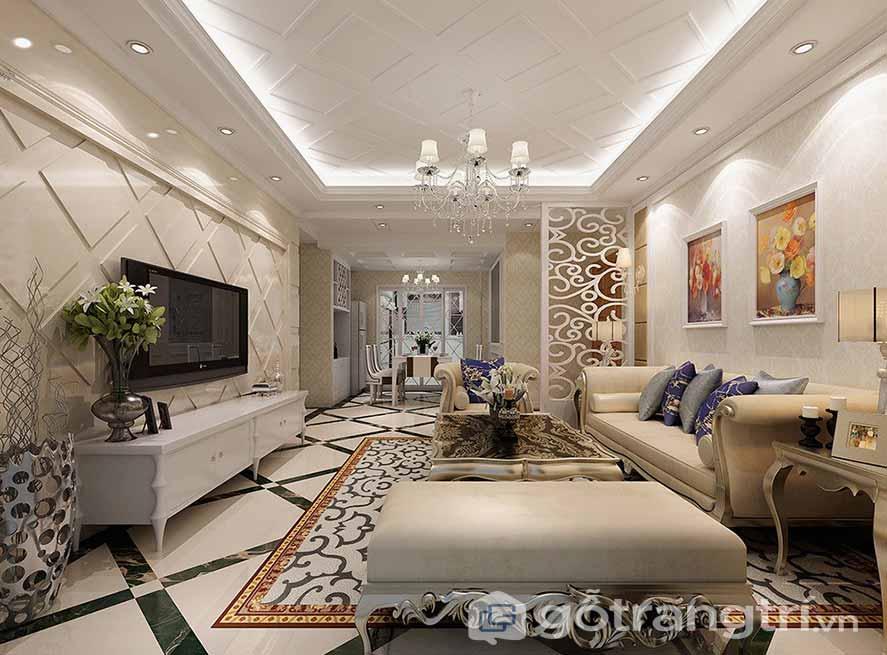 Thiết kế nội thât phòng khách phong cách tân cổ điển