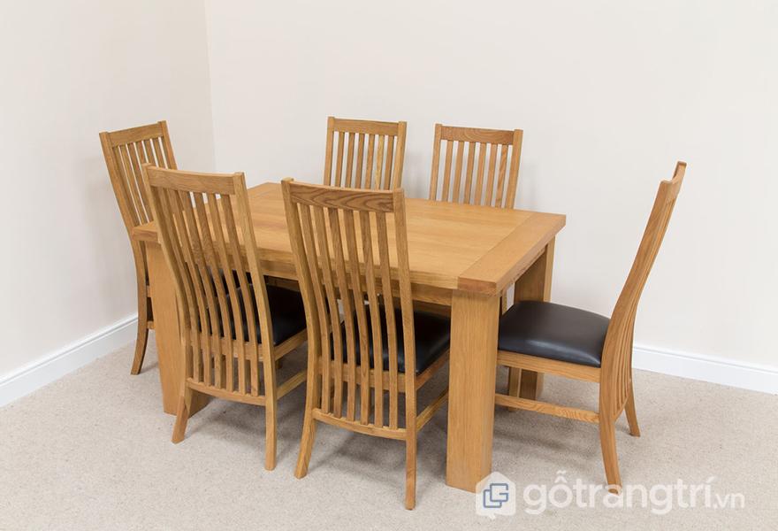 Mẫu bàn ăn 6 ghế gỗ sồi không bọc vải