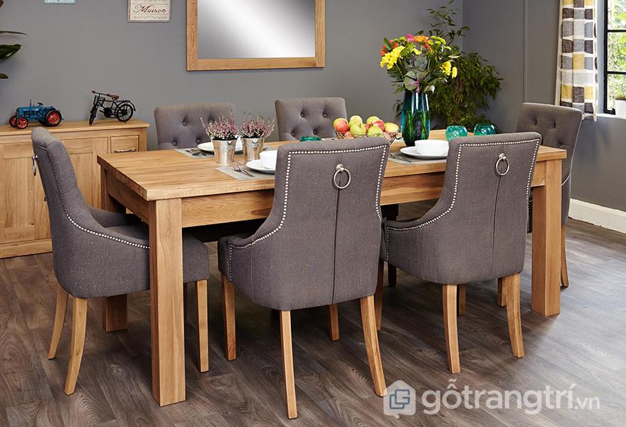 Bộ bàn ăn 6 ghế gỗ sồi được bọc vải cao cấp