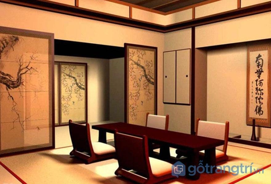 Bàn ăn kiểu Nhật làm từ gỗ tự nhiên