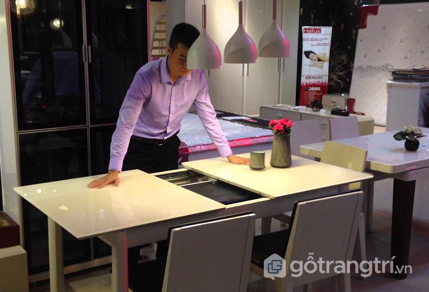 Mẫu bàn ăn thông minh kéo dài có thể kéo - đẩy dễ dàng
