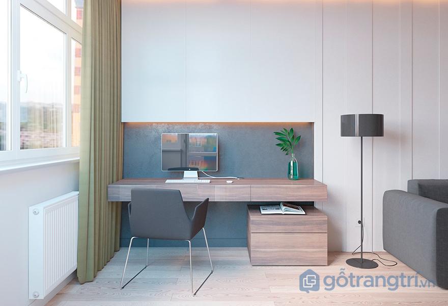 Chiếc bàn làm việc nhỏ trong phòng ngủ nhỏ gọn nhưng đa năng