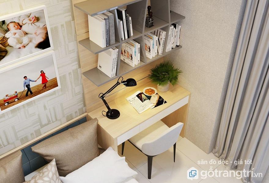 bàn làm việc trong phòng ngủ hẹp