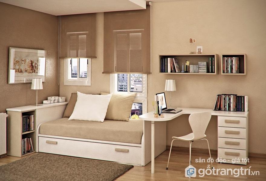 Bàn làm việc trong phòng ngủ hẹp thiết kế đơn giản