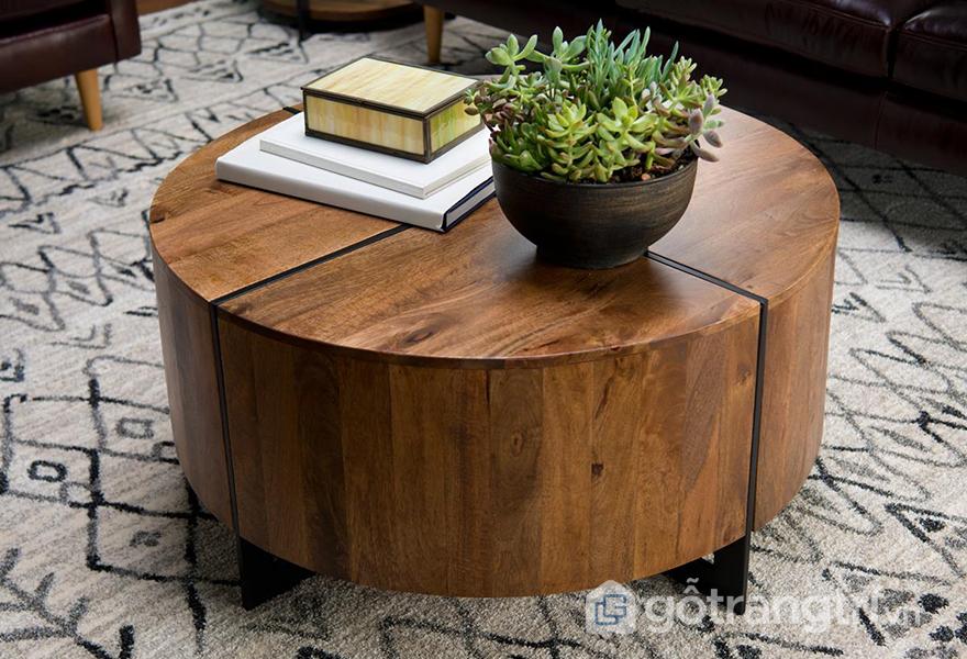 Mẫu bàn sofa tròn được làm từ gỗ tự nhiên nguyên khối