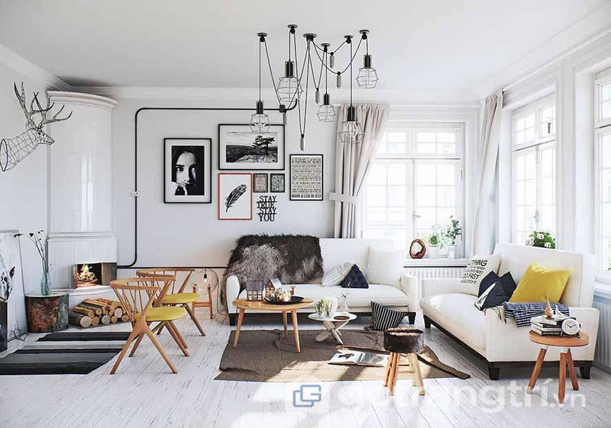 Thiết kế nội thất phòng khách phong cách Scandinavian