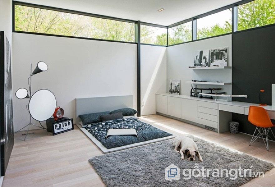 Cách trang trí phòng ngủ đẹp không cần giường thông thoáng3
