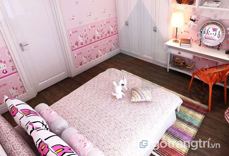 Cách trang trí phòng ngủ đẹp không cần giường: Tủ âm tường5