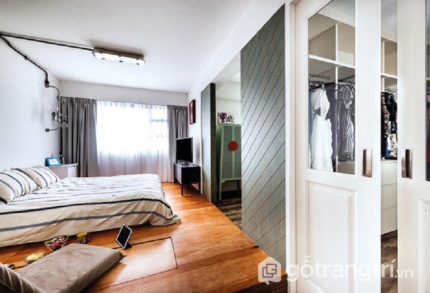 Cách trang trí phòng ngủ không có giường: gam trắng