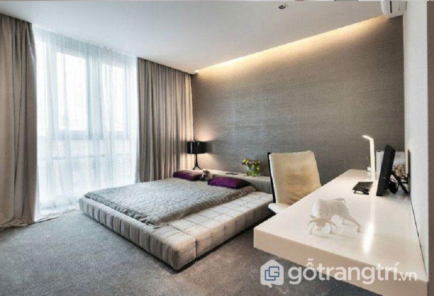 Cách trang trí phòng ngủ không có giường: gam màu be, xanh