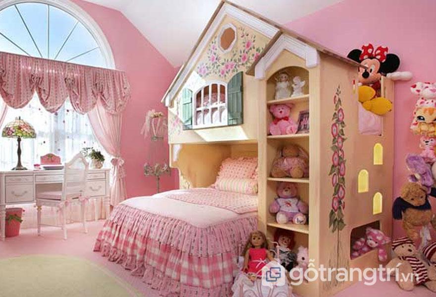Giường ngủ cho bé gái sắc màu hồng tươi