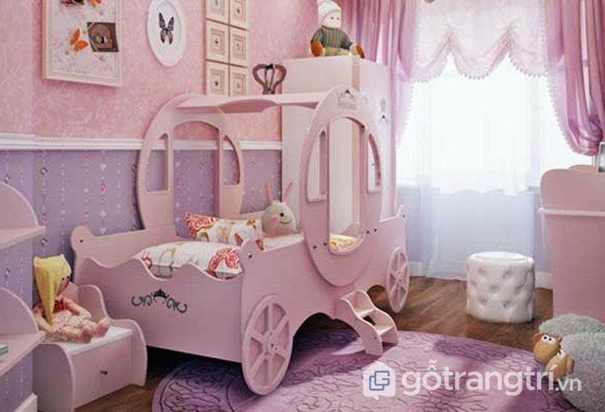 Giường ngủ cho bé gái sắc màu hồng nhạt