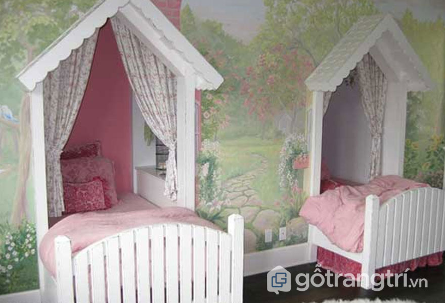 Giường ngủ cho bé gái thiết kế âm tường