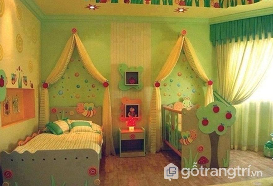 Giường ngủ cho bé gái có nhiều họa tiết