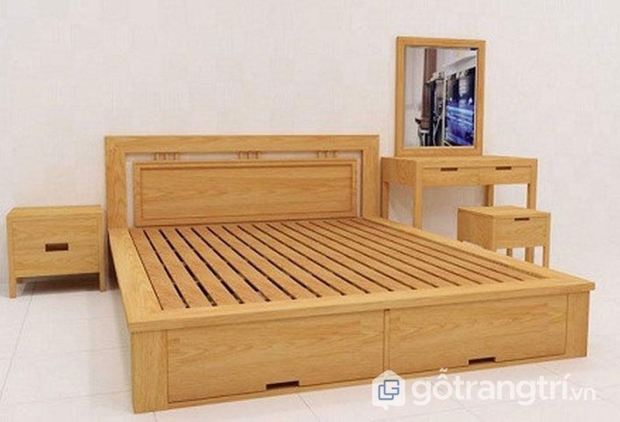 Giường ngủ bằng gỗ óc chó chắc chắn, vân sáng đẹp