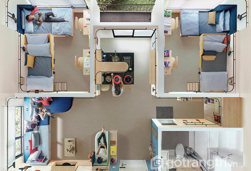 Thiết kế căn hộ nhìn từ phía trên