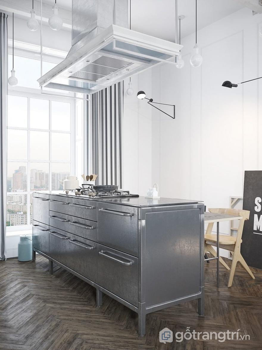 Đảo bếp được bố trí ngay chính giữa căn phòng