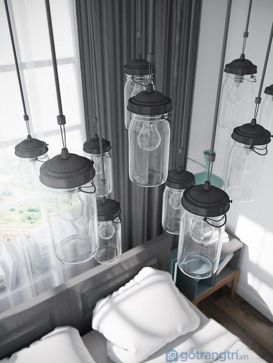 Những chiếc đèn thả trần tạo nên điểm nhấn